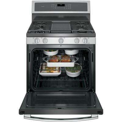 Profile 30 in. 5.6 cu. ft. Smart Gas Range with Self-Cleaning Convection Oven in Stainless Steel