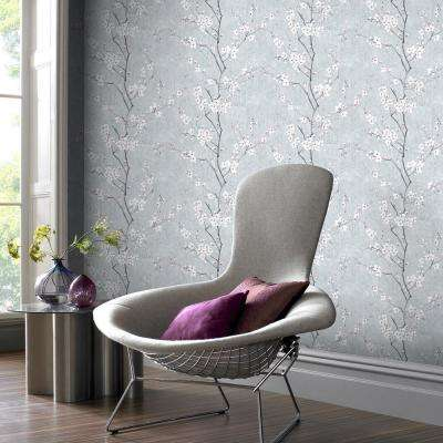 Kyoto Sakura Pale Blue / Silver / Pink Wallpaper
