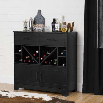 Vietti Bar Cabinet with Bottle Storage and Drawers, Black Oak