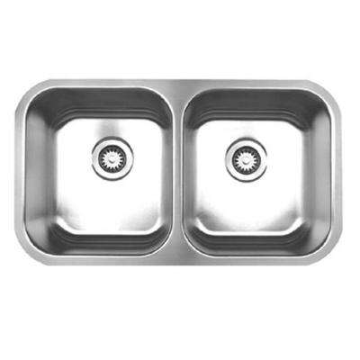Noah's Collection Undermount Brushed Stainless Steel 31 in. Double Bowl Kitchen Sink