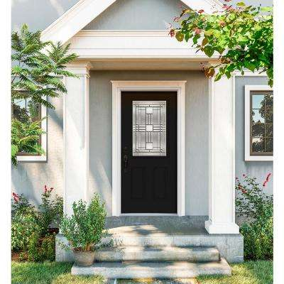 36 in. x 80 in. 1/2 Lite Cordova Black Painted Steel Prehung Right-Hand Inswing Front Door w/Brickmould