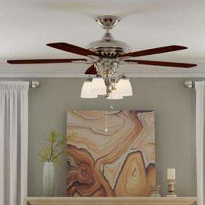 Bristol Lane 52 in. Indoor Polished Nickel Ceiling Fan with Light Kit