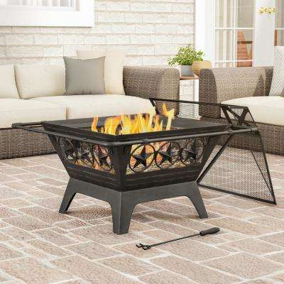 32 in. W x 27 in. H Square Steel Wood Burning Outdoor Deep Fire Pit in Black with Star Design