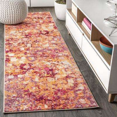 Contemporary POP Modern Abstract Pink/Orange 2 ft. 3 in. x 8 ft. Runner Rug