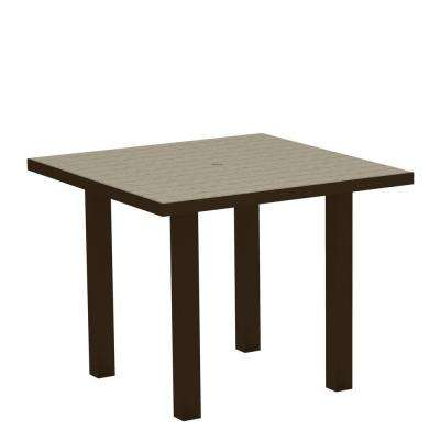 Euro Textured Bronze 36 in. Square Patio Dining Table with Sand Top