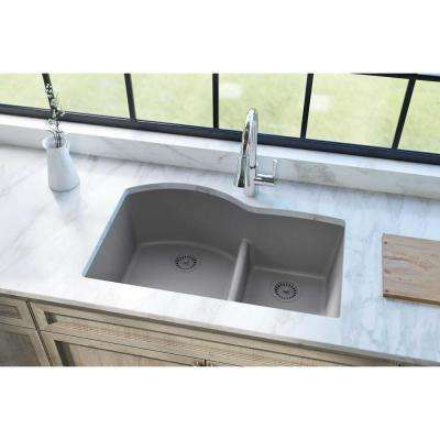 Quartz Classic Undermount Composite 33 in. Rounded Offset Double Bowl Kitchen Sink in Greystone
