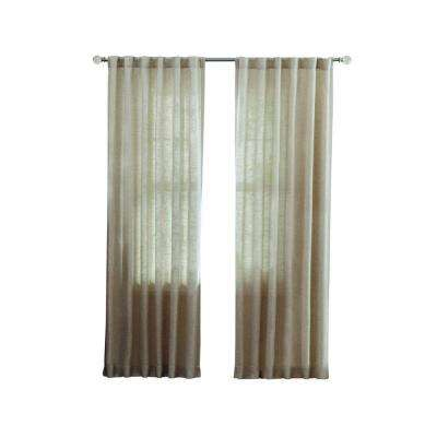 Faux Linen Back Tab Curtain