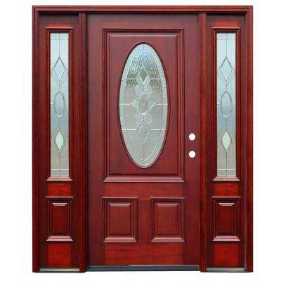 Strathmore Traditional 3/4 Oval Lite Stained Mahogany Wood Prehung Front Door with 12 in. Sidelites