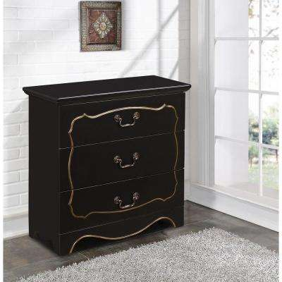 Fancy Overlay 3-Drawer Wood Cabinet in Black