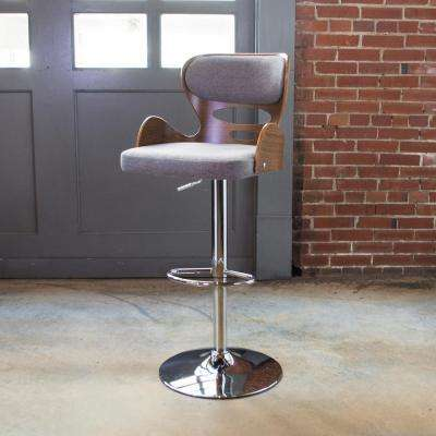 Bent Wood Series Pebble Fabric 24.5 to 32.5 in. Adjustable Bar Stool