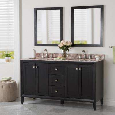 Austell 61 in. W x 38 in. H x 22 in. D Vanity in Black with Stone Effects Vanity Top in Cold Fusion with White Sink