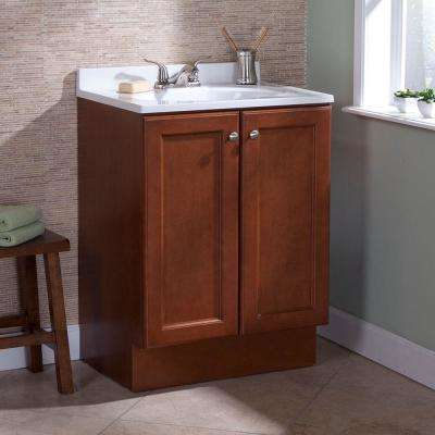 Vanity Pro All-in-One 24 in. W Bathroom Vanity in Amber with Cultured Marble Vanity Top in White with White Sink