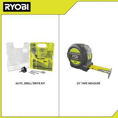 Multi-Material Drill and Drive Kit (60-Piece) with BONUS 25FT Tape Measure