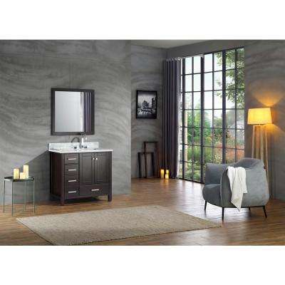 Cambridge 37 in. Bath Vanity in Espresso with Marble Vanity Top in Espresso with White Basin