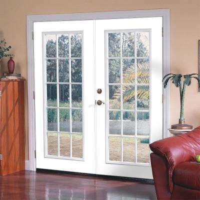Prehung Center-Hinged 15 Lite Primed Steel Patio Door with Brickmold