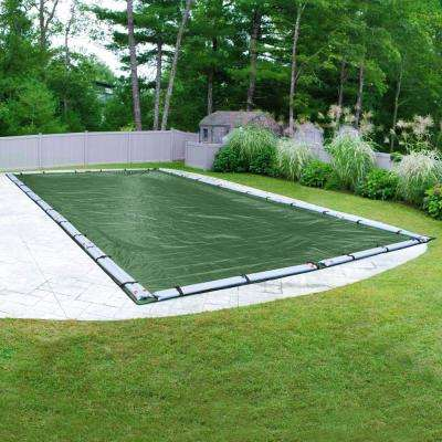 Optimum Rectangular Green Solid In Ground Winter Pool Cover