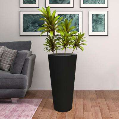 30 in. H Tall Crucible Composite Planter in Matte Black