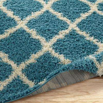 Ultimate Shaggy Contemporary Moroccan Trellis Design Turquoise 8 ft. x 10 ft. Area Rug