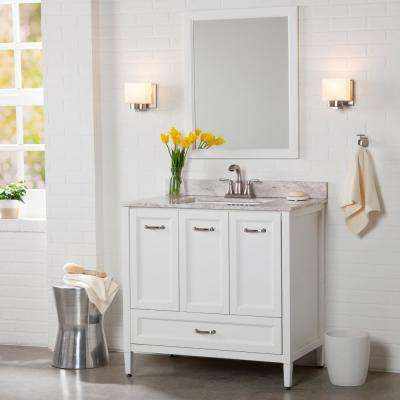 Claxby 37 in. W x 22 in. D Bathroom Vanity in White with Stone Effect Vanity Top in Winter Mist with White Sink