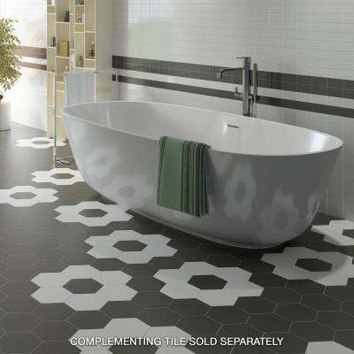 Hexatile Matte Nero 7 in. x 8 in. Porcelain Floor and Wall Tile (7.67 sq. ft. / pack)