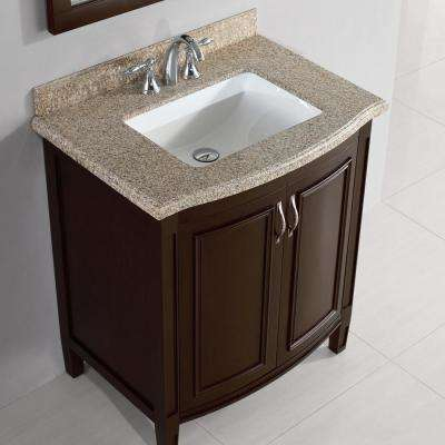Sheba 30 in. Vanity in Cocoa with Granite Vanity Top in Speckled Beige