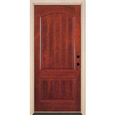 2-Panel Plank Cherry Mahogany Fiberglass Prehung Front Door
