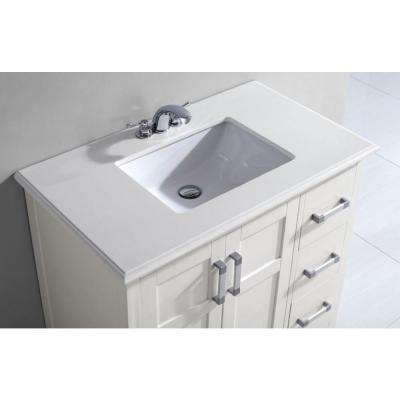 Winston 36 in. Bath Vanity in Soft White with Quartz Marble Vanity Top in Bombay White with White Basin