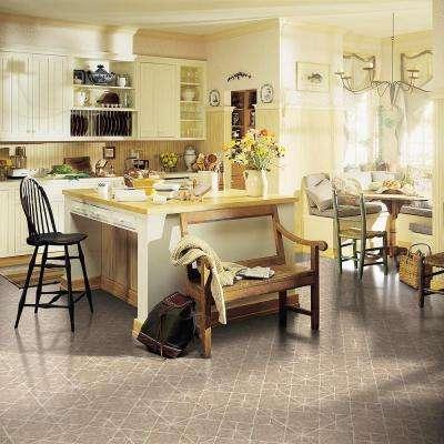 Diamond Limestone Umber 12 in. x 12 in. Residential Peel and Stick Vinyl Tile Flooring (45 sq. ft. / case)