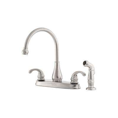 Treviso 2-Handle Standard Kitchen Faucet with Side Sprayer in Stainless Steel