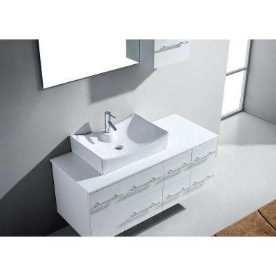Ceanna 54 in. W Bath Vanity in White with Stone Vanity Top in White with Square Basin and Mirror and Faucet