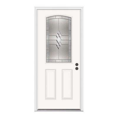 Kingston 1/2 Lite Primed White Steel Prehung Front Door with Brickmold