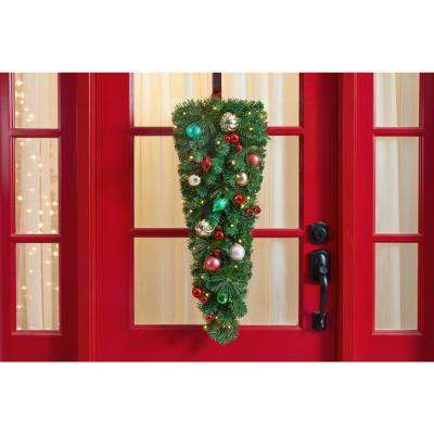 36 in. Fantasleigh Battery Operated Pre-Lit LED Artificial Christmas Tear Drop
