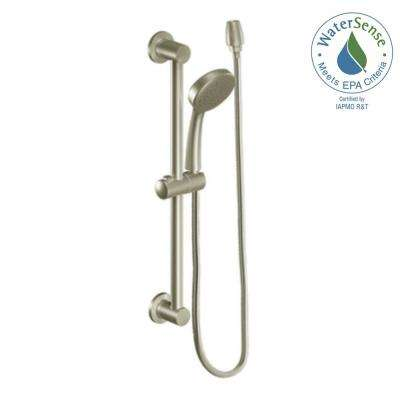 Eco-Performance 1-Spray 4 in. Handshower with Slide Bar in Brushed Nickel