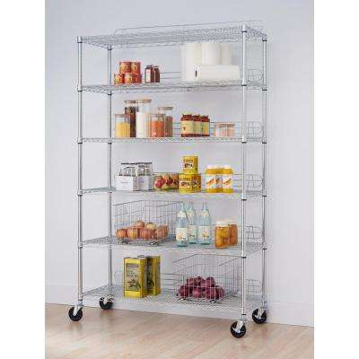 EcoStorage 6-Tier 48 in. x 18 in. x 77 in. Shelving Rack with Wheels in Chrome