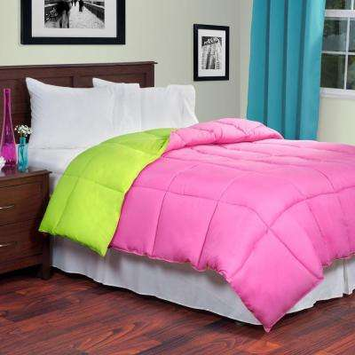Reversible Pink/Lime Down Alternative King Comforter