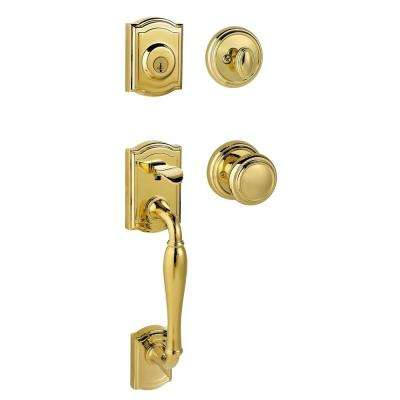 Prestige Wesley Single Cylinder Lifetime Polished Brass Exterior Handleset with Alcott Entry Knob featuring SmartKey