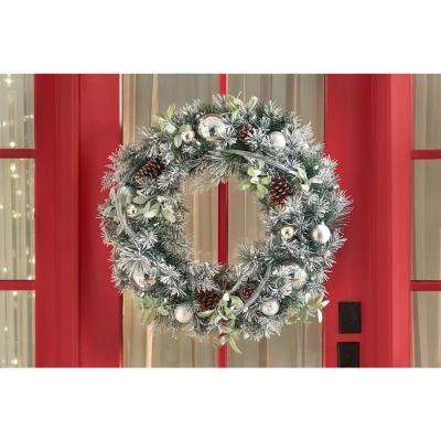 30 in. Snowy Silver Pine Pre-Lit LED Artificial Christmas Flocked Wreath with Ornaments and Mistletoe