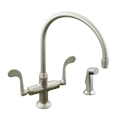 Essex Single-Hole 2-Handle Standard Kitchen Faucet in Vibrant Brushed-Nickel