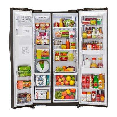 26.1 cu. ft. Side by Side Refrigerator with Door-in-Door in Black Stainless Steel