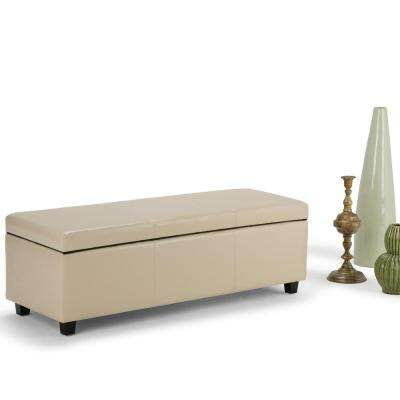 Avalon Cream Faux Leather Large Rectangular Storage Ottoman Bench