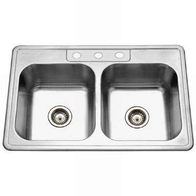 Glowtone Series Drop-In Stainless Steel 33 in. 3-Hole Double Basin Kitchen Sink