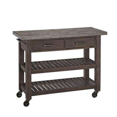 Concrete Chic Brown Kitchen Cart With Concrete Top