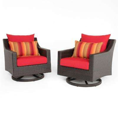 Deco 2-Piece All-Weather Wicker Patio Motion Club Chair Seating Set with Sunset Red Cushions