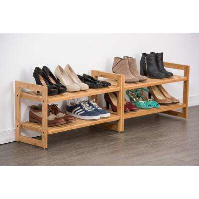 Stackable 2-Tier Bamboo Shoe Rack (2-Pack)