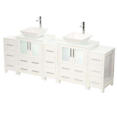 Torino 84 in. Double Vanity in White with Glass Stone Vanity Top in White with White Basin and Mirrors