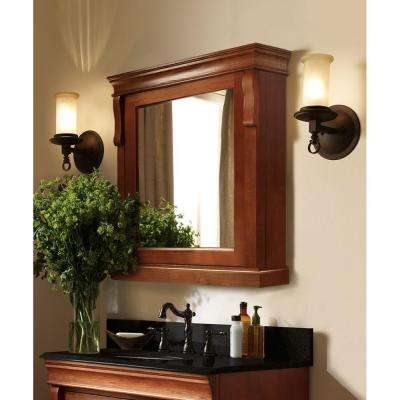 Naples 25 in. W x 31 in. H x 8 in. D Framed Surface-Mount Bathroom Medicine Cabinet in Warm Cinnamon