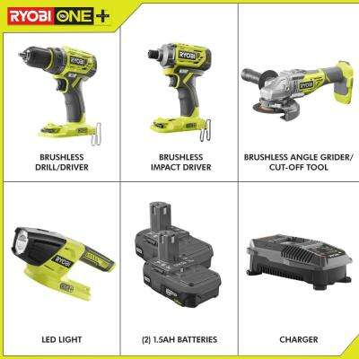 18-Volt ONE+ Brushless 4-Tool Combo Kit with Drill, Grinder, Impact Driver, Light, (2) 1.5 Ah Batteries, and Charger