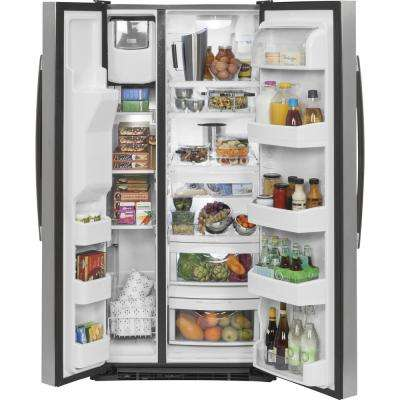 33 in. W 23.2 cu. ft. Side by Side Refrigerator in Stainless Steel, ENERGY STAR