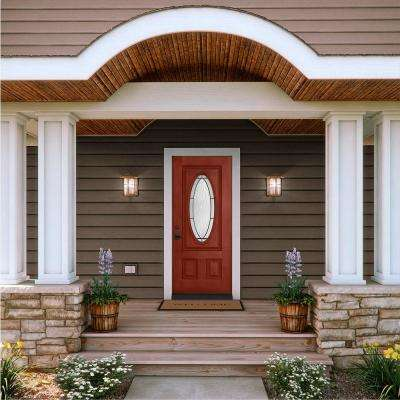 32 in. x 80 in. 3/4 Oval Lite Wendover Black Cherry Stained Fiberglass Prehung Right-Hand Inswing Front Door