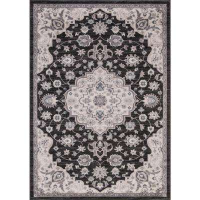 Lara Center Medallion Anthracite 7 ft. 10 in. x 10 ft. 6 in. Area Rug